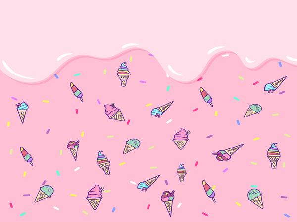 Fox Summer Pink Ice Cream Children Vinyl Backdrop-Foxbackdrop