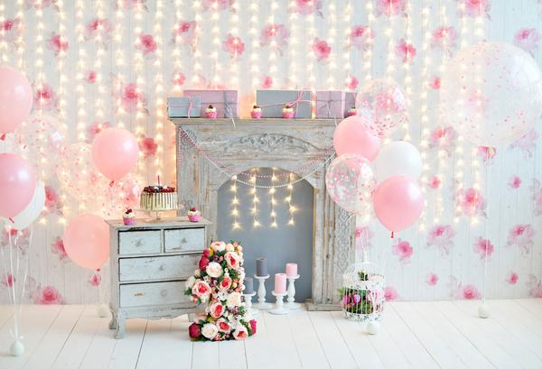 Fox Fireplace Pink Balloons Birthday Vinyl Backdrop-Foxbackdrop