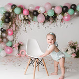 Load image into Gallery viewer, Fox Balloons Girls Birthday Cake Smash Backdrop Design by Kali