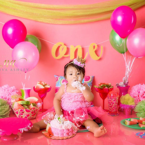 Fox Pink Balloons Children Birthday Vinyl Backdrop Design By Neiva