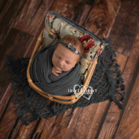 Fox Rolled Dark Brown Vintage Wood Newborn Vinyl Backdrop
