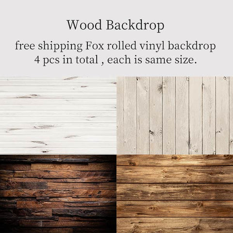 Fox Rolled 4 Pcs Wood Combination Vinyl Photography Backdrop
