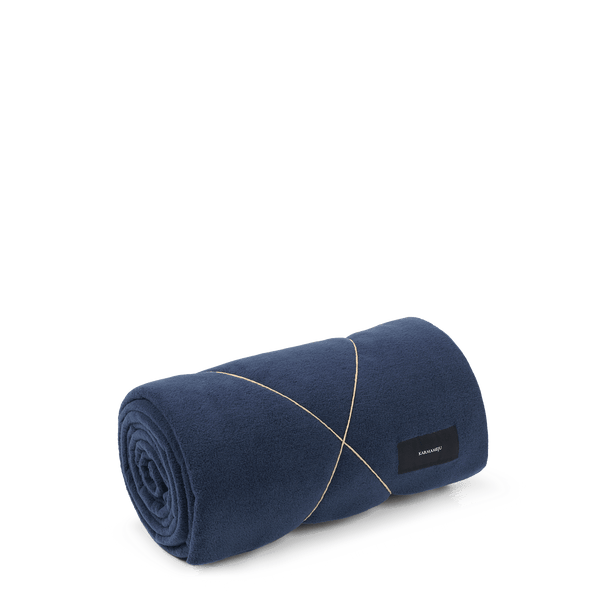Karmameju Fleece Blanket, HIMALAYA, Dark Blue