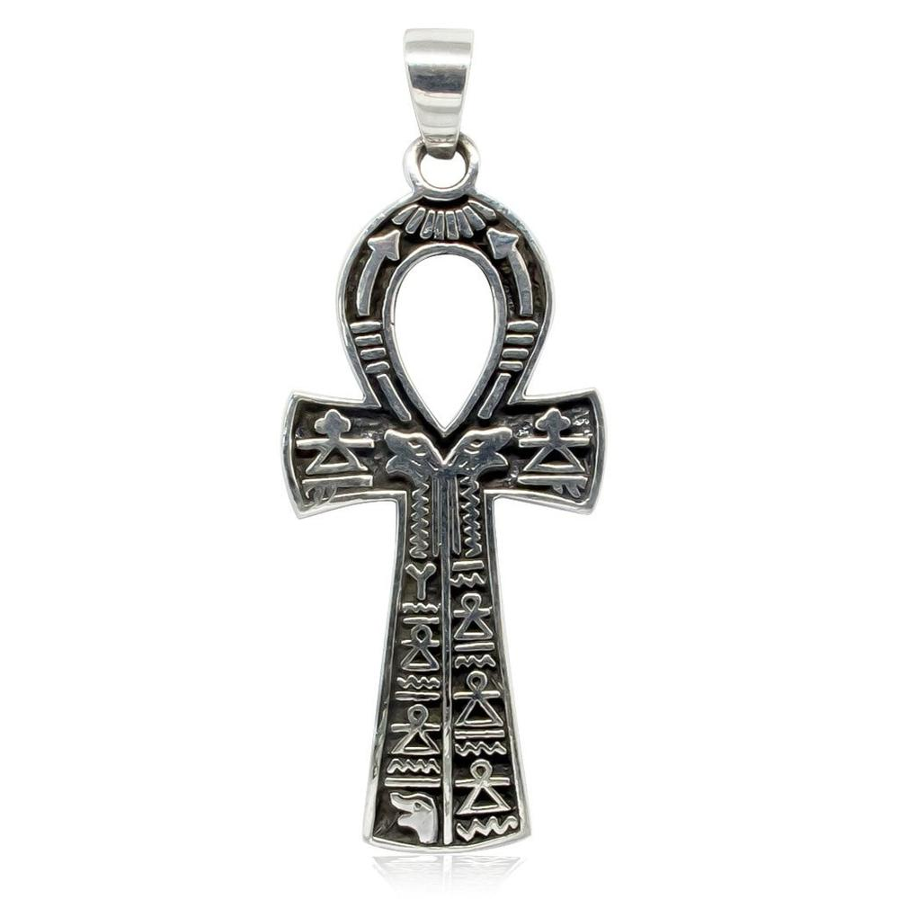 Ankh Cross Hieroglyphics Necklace