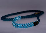 Braided Paracord 550 Leash - Reflective Turquoise and Teal