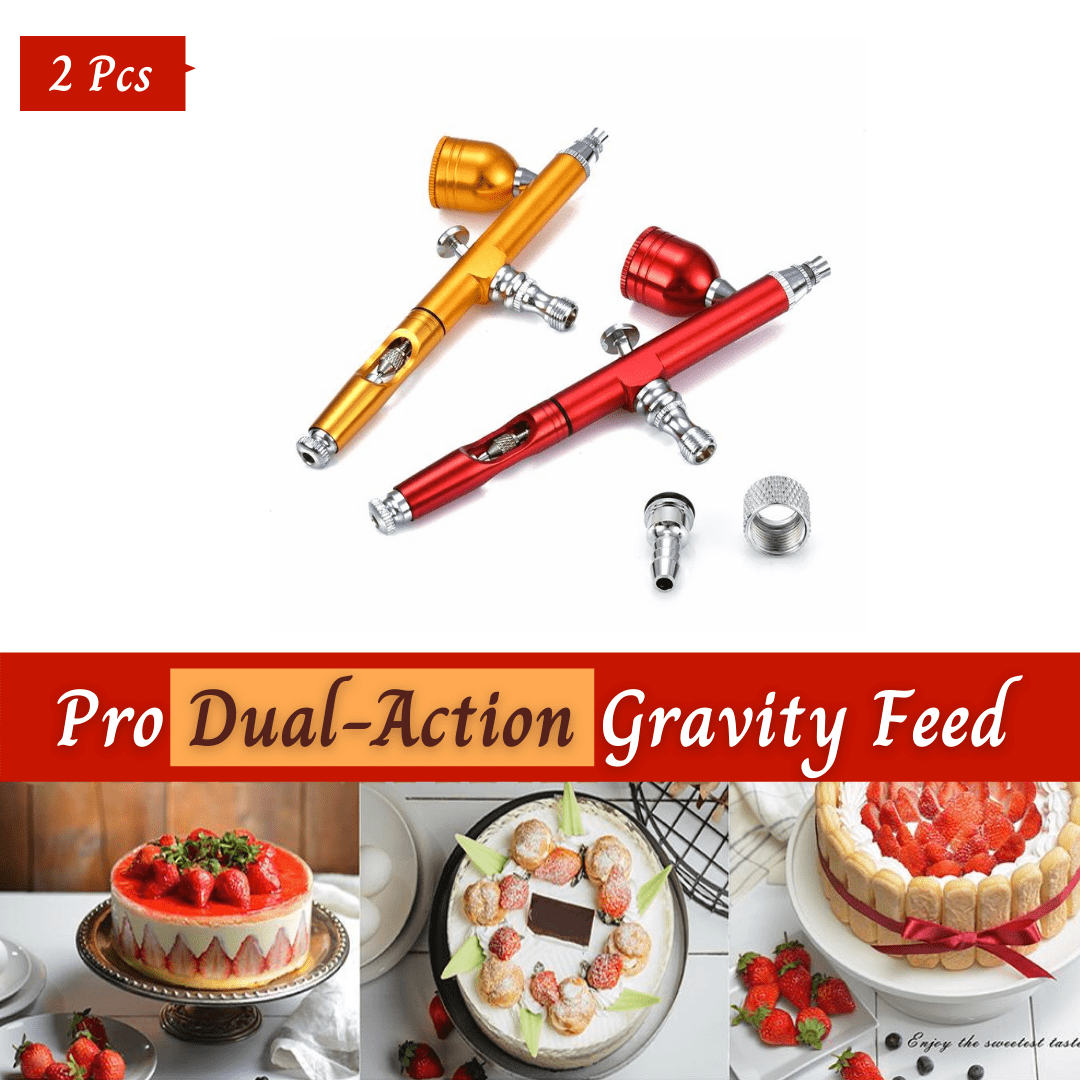 Trendy Gem Decorating Tools 2 Pcs (Red & Golden) SAVE 10% Dual Action Airbrush Gun