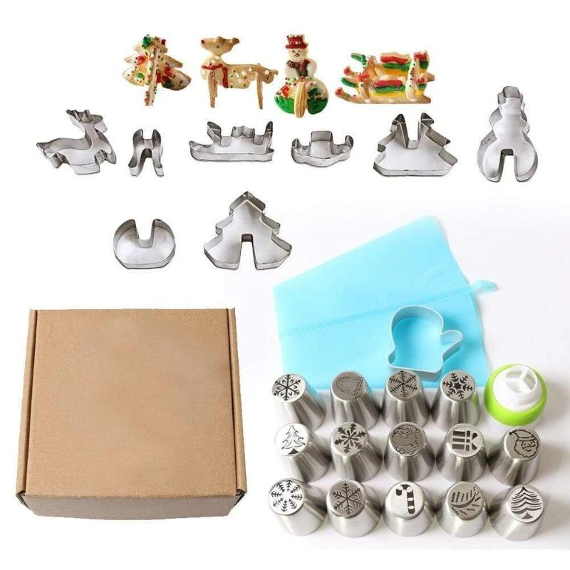 Trendy Gem Piping Bags & Tips Christmas Baking Nozzles Kit [Limited Edition]