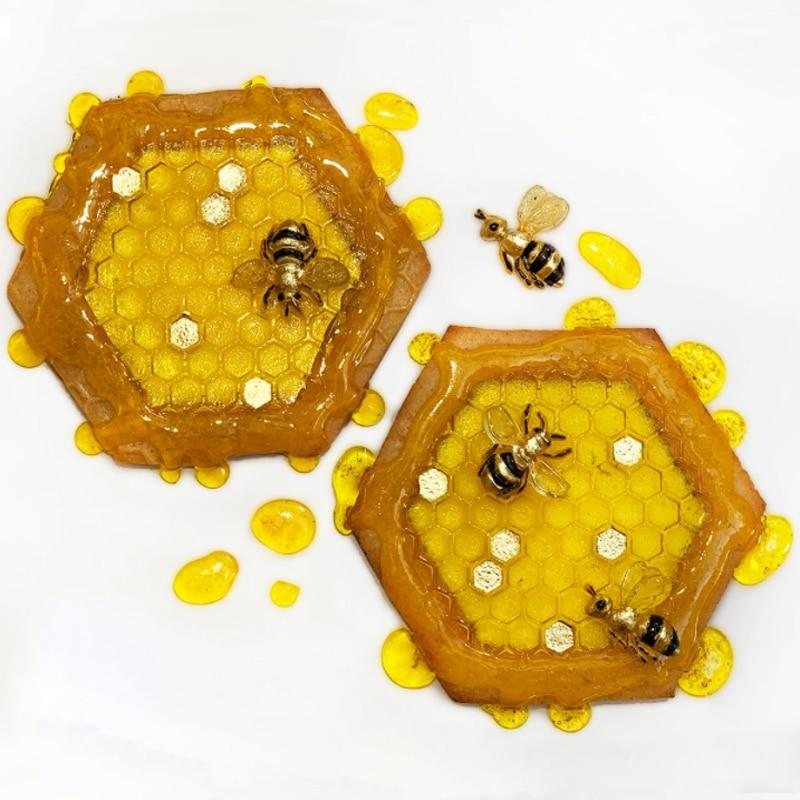 Trendy Gem Silicone Moulds Continuous Honeycomb and Bees Textured Molds