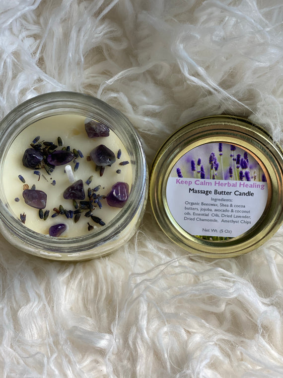 Keep Calm Herbal Healing Massage Butter Candles - Royally Fit