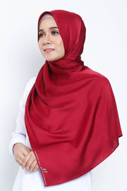 Basic Matte Satin Shawl in Burgundy