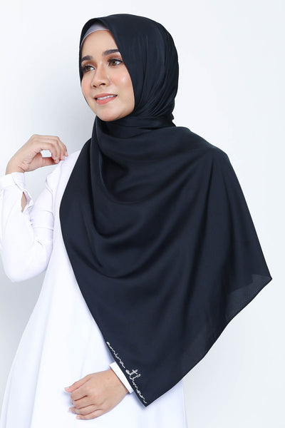 Basic Matte Satin Shawl in Charcoal