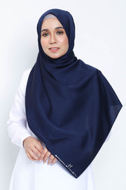 Basic Matte Satin Shawl in Blueblack