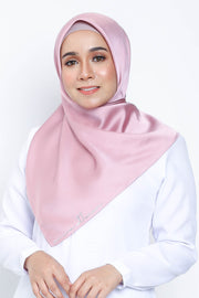 Basic Matte Satin Square Scarf in Pinkrose