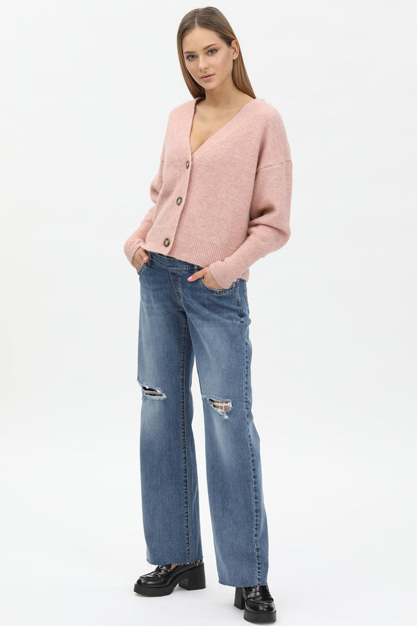 WIDE LEG | Ripped Maternity Jeans