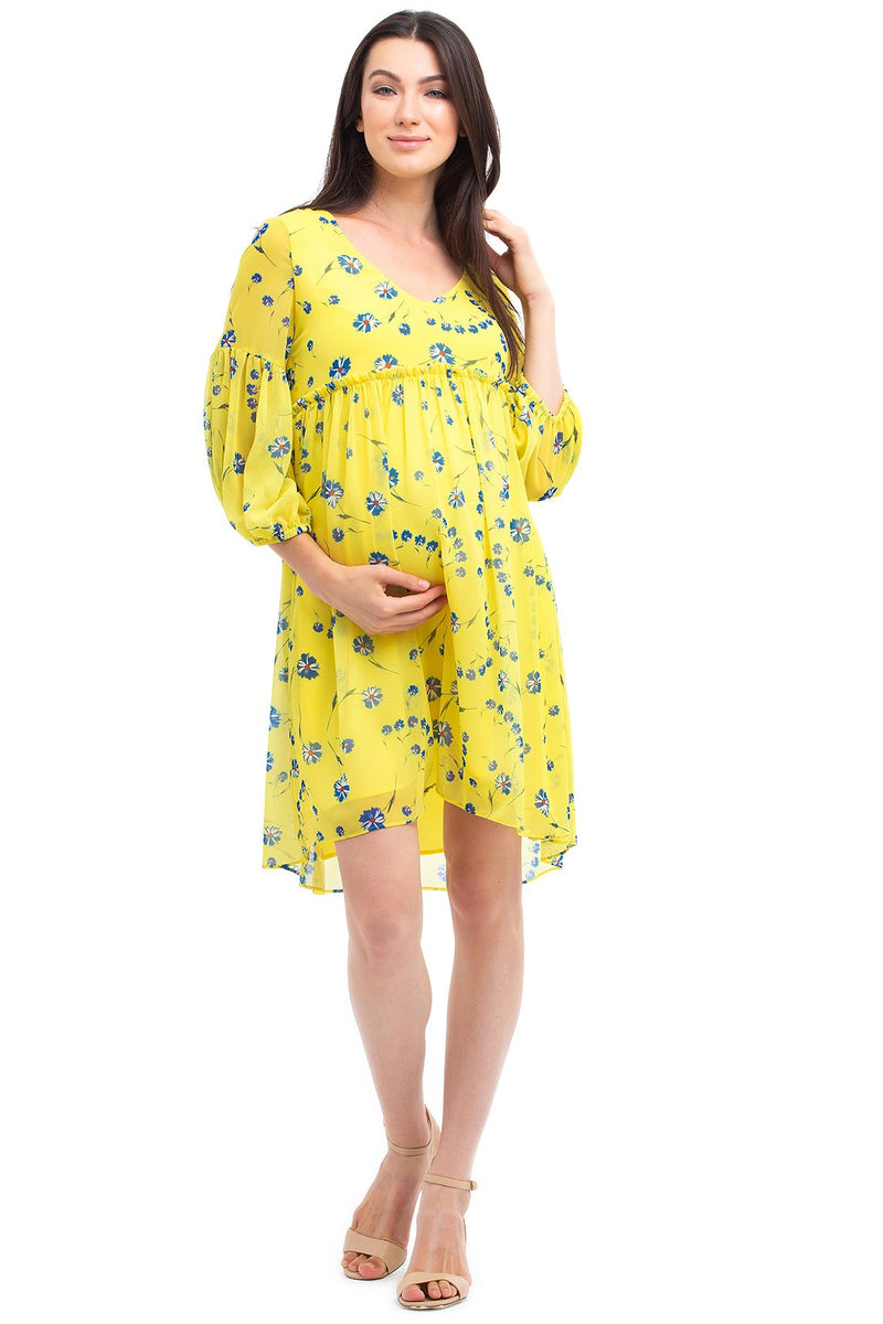 CELINA | Puff-Sleeved Maternity Dress