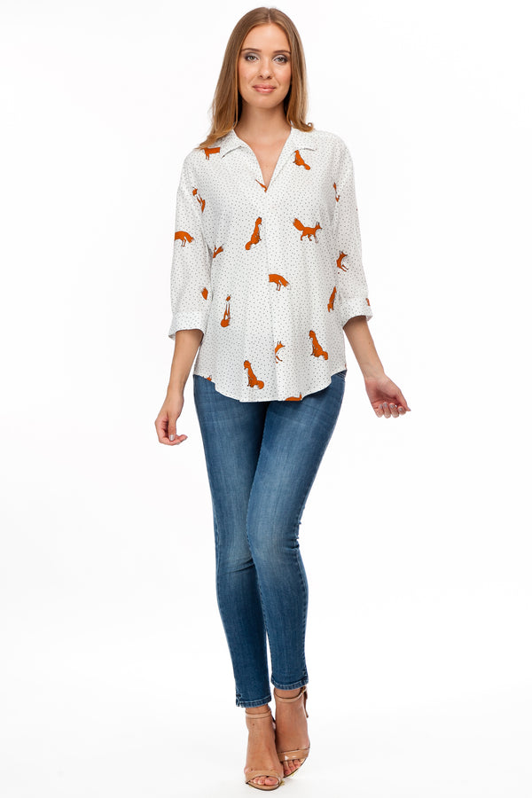 Panarea Dotty Fox | Camicia Premaman in viscosa stampata