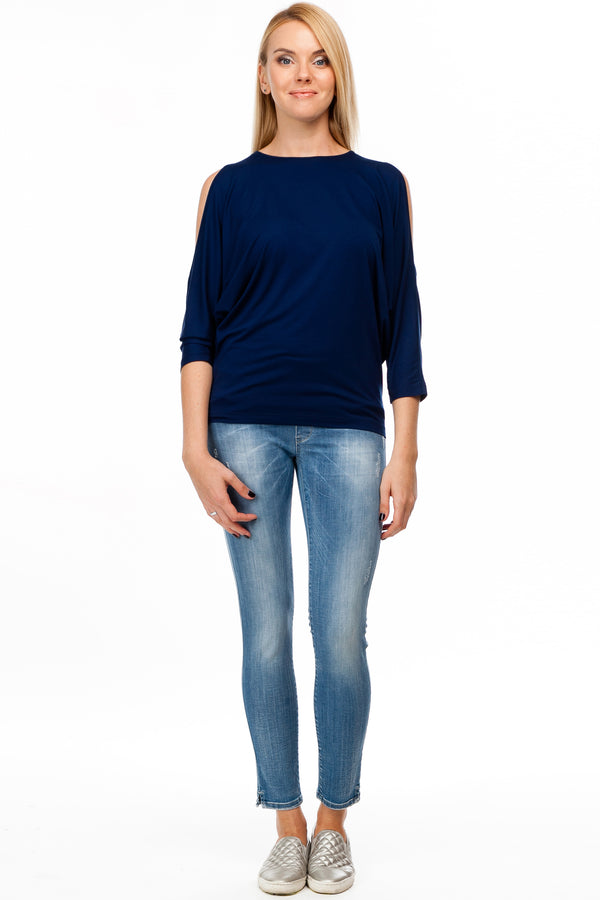 "Jeggins Premaman in denim stretch con lavaggio ""stone"""