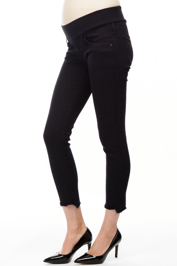 BLACK JEGGINGS | Maternity Jeans with Frayed Hem