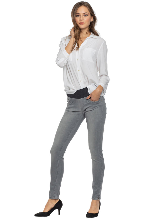 Jeggings Grigio | Jeans Premaman aderenti in denim estivo