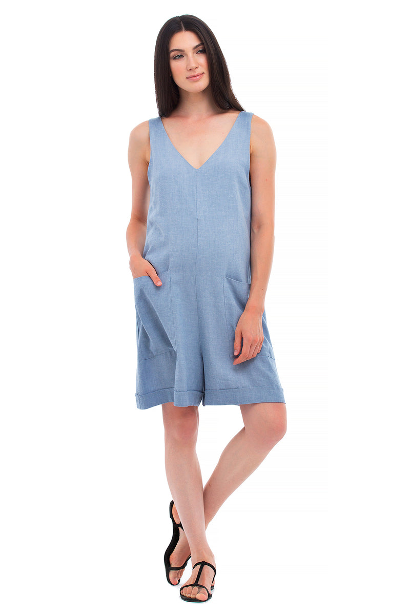 CLELIA | Maternity Playsuit in Linen
