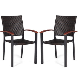 Patio Dining Armchair Stackable Rattan Wicker Chairs (2 Pieces)