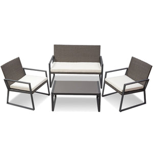 Patio Rattan Wicker Cushioned Seat Sofa Furniture Set (4 Pieces)