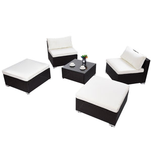 Patio Sectional Lounge Rattan Wicker Sofa Furniture Set (5 Pieces)