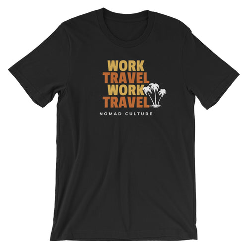 Work Travel Repeat T-Shirt - NomadCulture - T-Shirt for Remote Workers and Digital Nomads