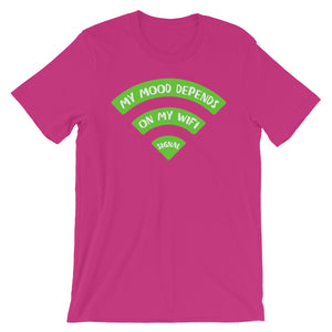 My Mood Depends on Wifi Unisex T-Shirt - NomadCulture - T-Shirt for Remote Workers and Digital Nomads