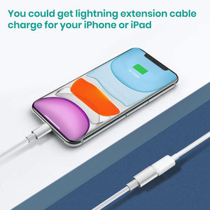 MeloAudio Extention Connector Cable Male to Female compatible Iphone/Ipad, Pass Video Data Charge and Power Charge,Extender Cord Made of White TPE and Silver Aluminum(White,3.3FT/1M)