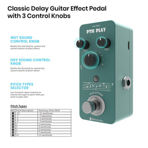 MeloAudio Tone Shifter Digital Pitch Pedal Guitar Effect Pedal with 9 Pitch Types True Bypass