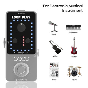 MeloAudio Guitar Looper Pedal Loop Effects 10 Minutes Looping Time Loop Station 9 Loops 40 minutes Record Time with USB Cable for Electric Guitar Bass Durm