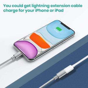 MeloAudio Extention Connector Cable Male to Female Cable compatible iPhone/iPad, Pass Video Data Charge and Power Charge,Extender Cord Made of Silver Aluminum(White,3.3FT/1M)