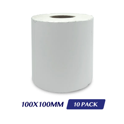 Thermal Direct Label Adhesive Labels Perforated Label Rolls - 100x100mm 500 Labels 10 Pack