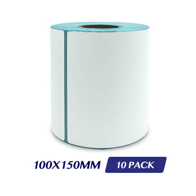 Thermal Direct Label Adhesive Labels Perforated Label Rolls - 100x150mm 300 Labels 10 Pack