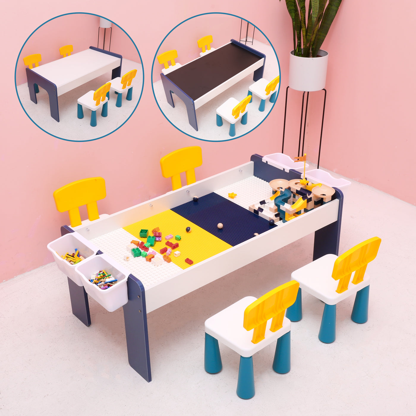 4 in 1 Kids Multi Activity Play Table Set with 4 Chairs, Chalk Board, 1200pcs Building Bricks