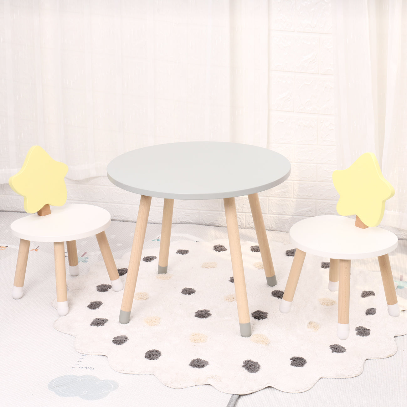 Kids Wooden Round Table & 2 Chair Set - 80cm Table Surface
