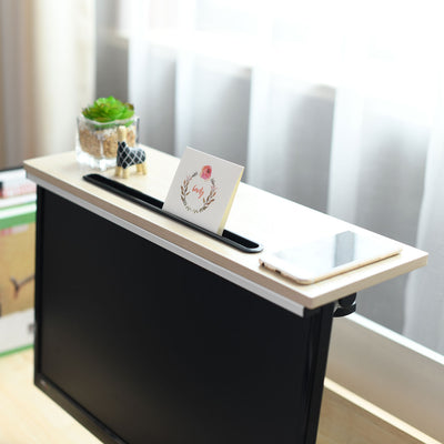 ZASS Mountable Monitor/TV/Screen Top Shelf Monitor Mount Organiser - White Maple