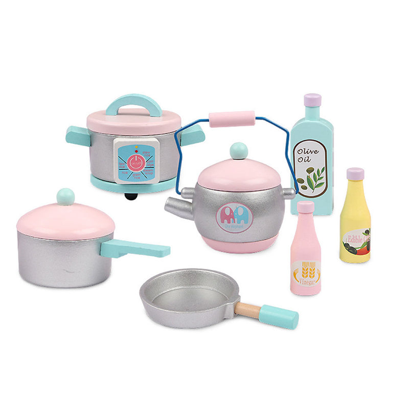 Wooden Pretend Role Play Kitchen Set for Kids Toddlers Full Set Cookware Accessories
