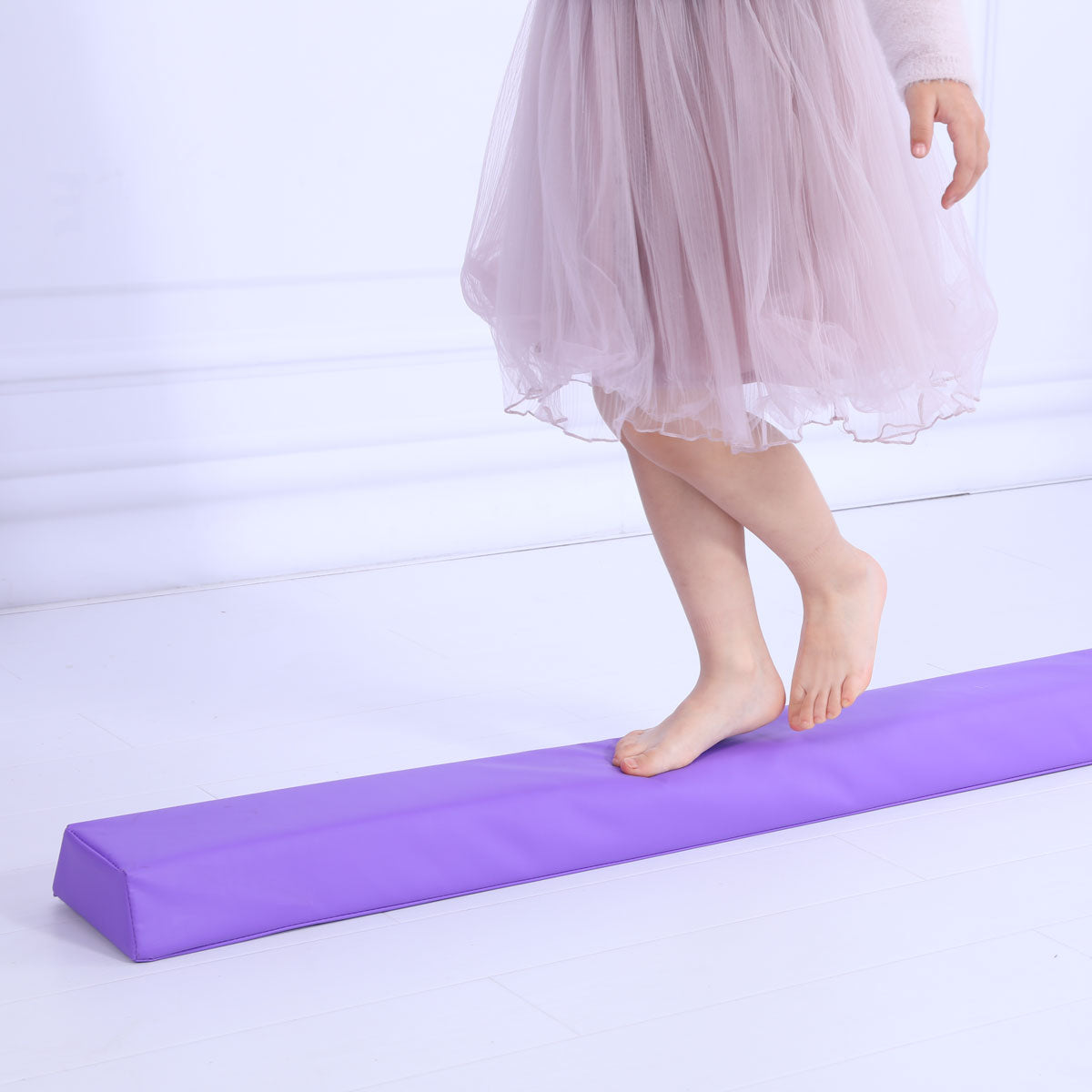 Starter Folding Gymnastics Balance Beam Practice Safe Balance Beam for Kids 240cm/270cm - Purple