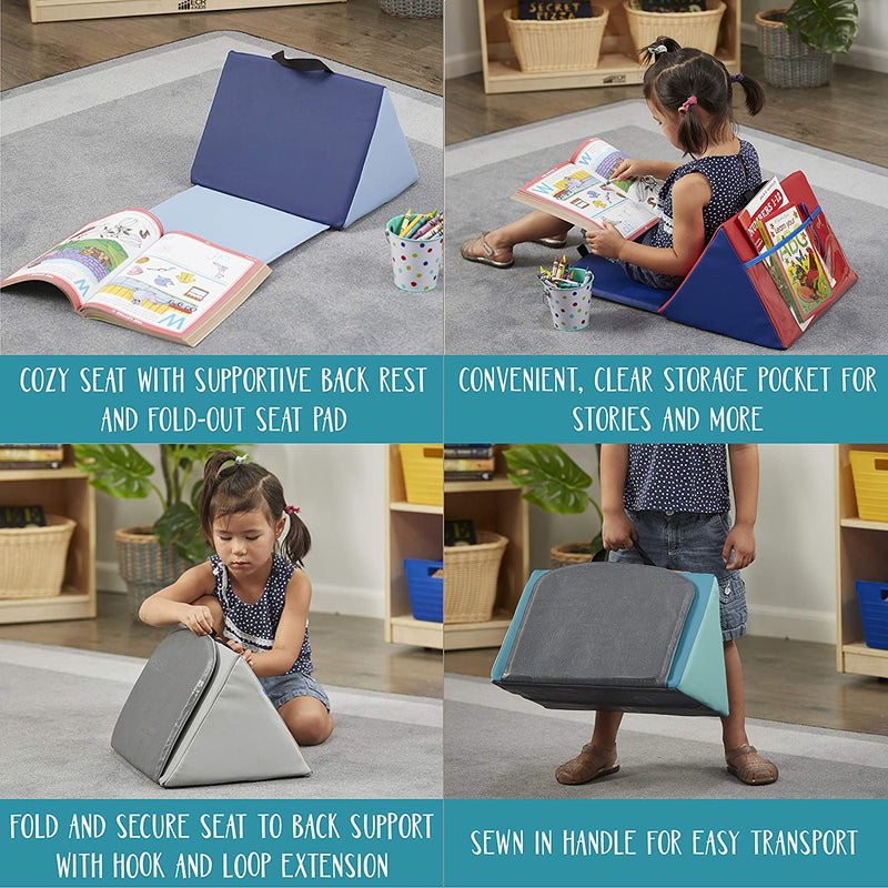 Kids Soft Block Sofa Carrying Reading Seat Cushion - Aqua/Grey
