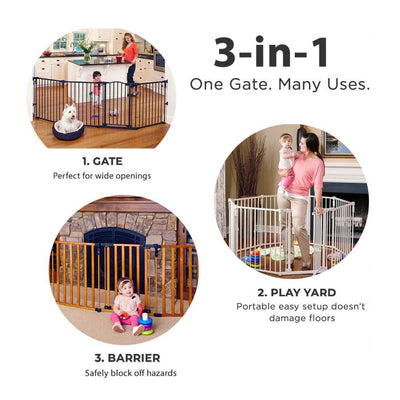 3-In-1 Super Wide Adjustable Baby Safety Gate and Play Yard Pet Playpen - Multiple Size