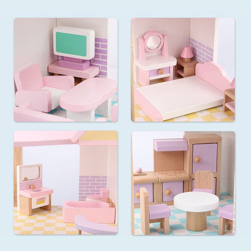 Princess Palace Look Wooden Dollhouse Pretend Role Play House 22pcs Furniture Kit
