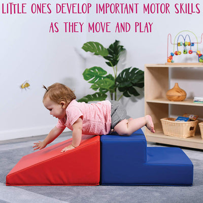 Baby Toddler Soft Block Playset Step n Slide Beginner Foam Play Structure 2pcs