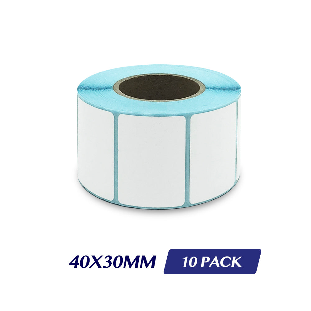 Thermal Direct Label Adhesive Labels Perforated Label Rolls - 40x30mm 800 Labels 10 Pack