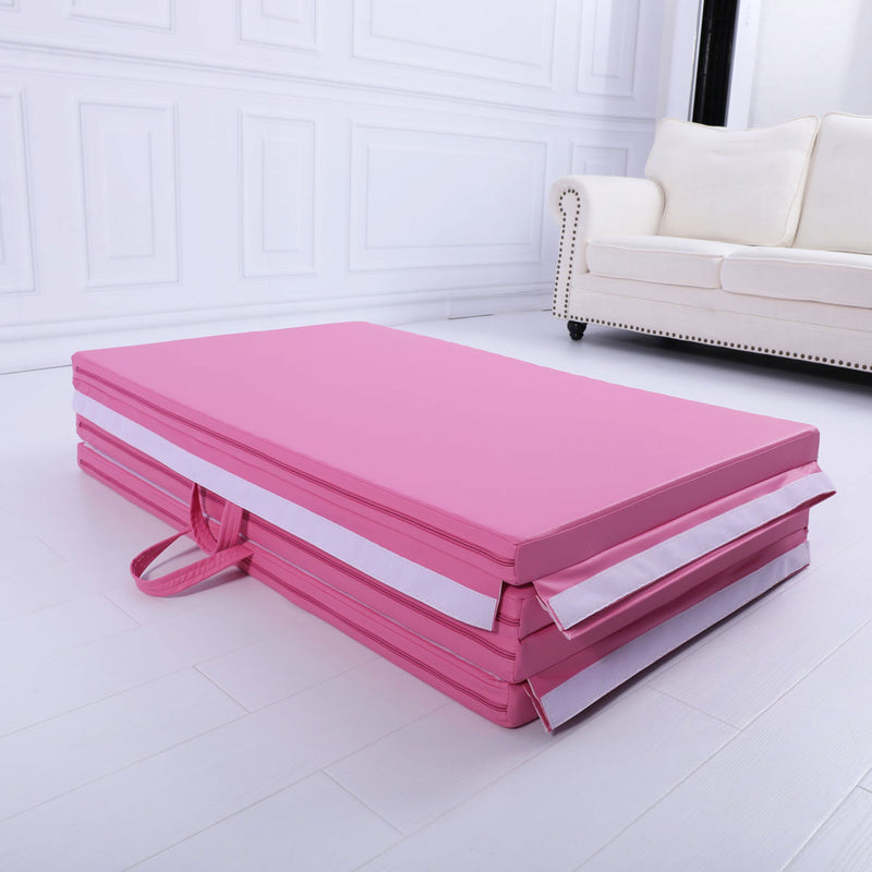 Large 3Mx1.2Mx5cm Folding Tumbling Mat Gymnastics Gym Exercise Mat High Density - Pink