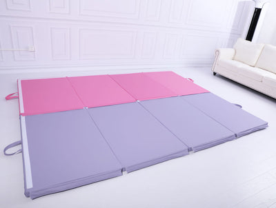 Large 3Mx1.2Mx5cm Folding Tumbling Mat Gymnastics Gym Exercise Mat High Density - Light Purple
