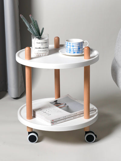 3-Tier Utility Rolling Cart with Lockable Wheels Convertible to 2-Tier Side Table - Circular