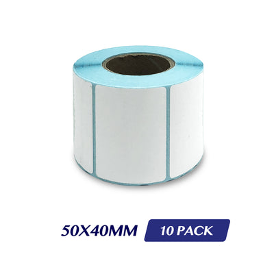 Thermal Direct Label Adhesive Labels Perforated Label Rolls - 50x40mm 600 Labels 10 Pack