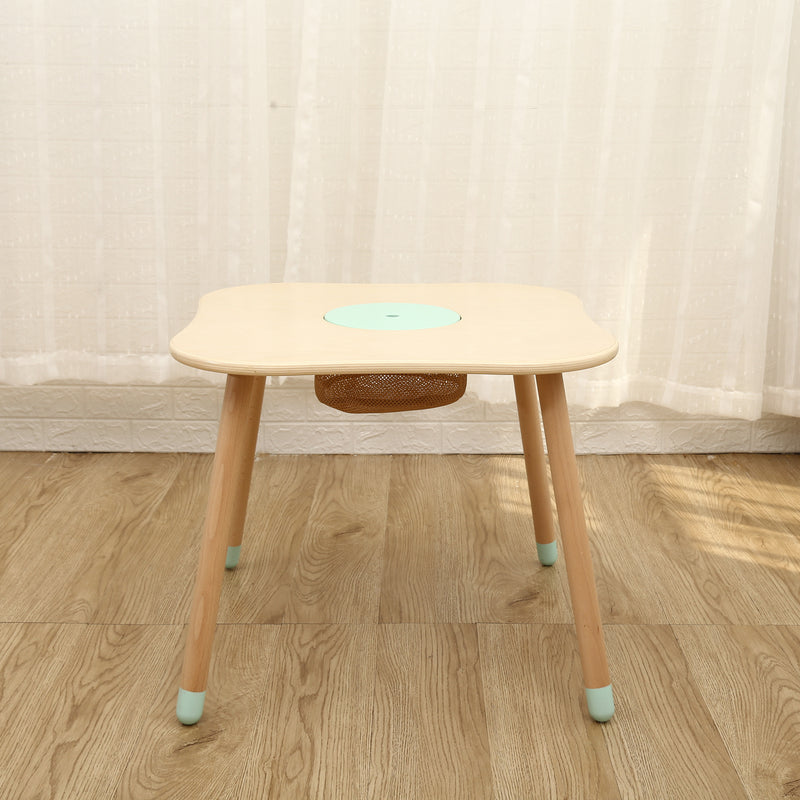 Kids Wooden Table & 2 Chair Set with Centre Mesh Storage - Mint Green